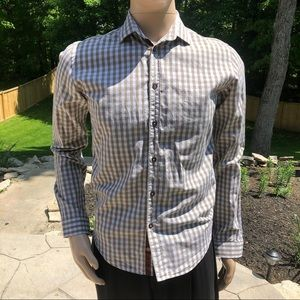 Zara Man Black Tag Light Brown Button Down Shirt